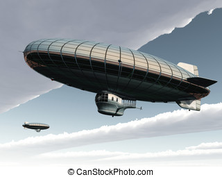 Two Zeppelins Skyscape - Two Zeppelins pass each other in...