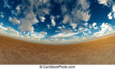 Wet sand and sky - fish eye style view landscape wet sandy...