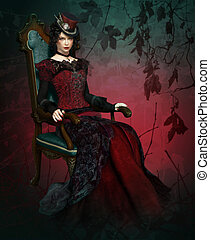 Lady Vlada Portrait - a lady in vintage clothing sitting in...