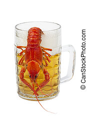 crayfish and a glass of beer - crawfish hanging on a mug of...
