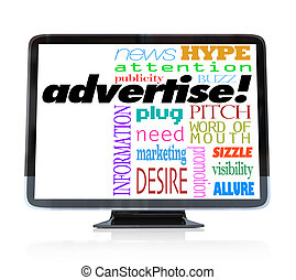 Advertise Marketing Words on HDTV Television - A high...
