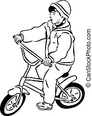sketch of a boy riding a bicycle on a small