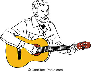 sketch of a man with a beard playing a guitar