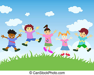 happy kids jumping above the grass