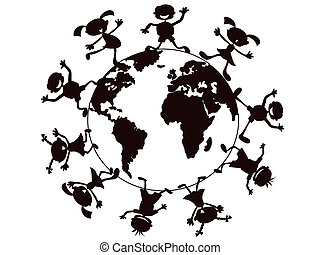 kids playing around the world - the symbol of kids playing...