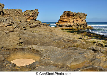 Sandstone rock on beach - Sandstone rocks on beach covered...