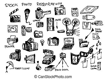 hand drawn microstock symbols isolated on the white...
