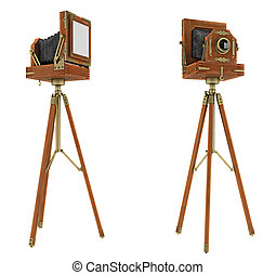 Vintage large format camera isolated on white