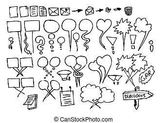 hand drawn dialog icons