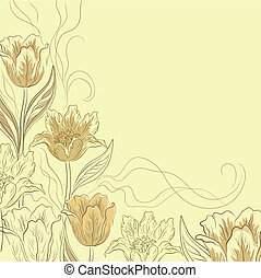 Flower background, tulips, yellow