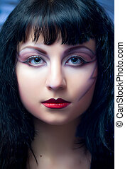 Fashion Model With Halloween Makeup - Face of model with...