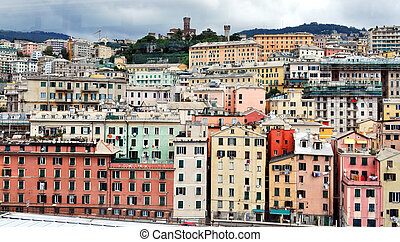 Genoa, Italy - View of the town of Genoa in Italy