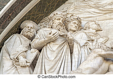 Bas-relief with Magi, on the front of church of Santa Croce...