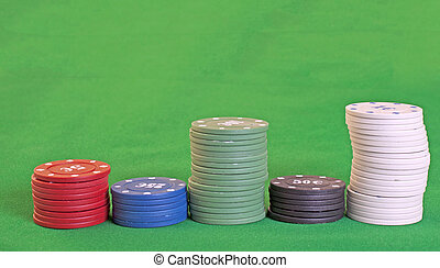 Chips - Different amounts of chips over green background