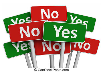 Voting concept: group of Yes and No signs isolated on white...