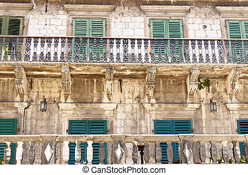 Pattern balcony and windows - Kotor, Montenegro - Old beauty...
