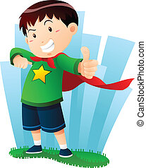 Action Boy - a boy in action pose pretending to be...