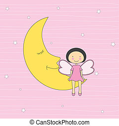 Girl sitting on a moon  - Baby card. Girl sitting on a moon
