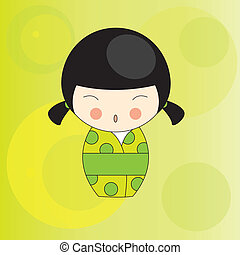 Japanese doll - Vector illustration of the Japanese doll