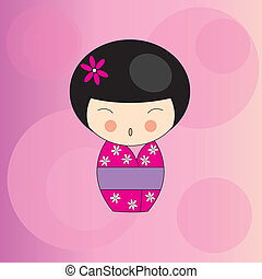 cute kokeshi girl
