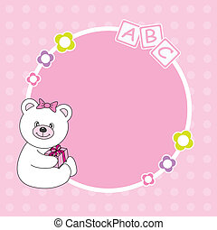 Pink bear framework - Baby girl arrival announcement Pink...
