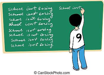 Kid writing on the blackboard