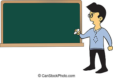 Cartoon teacher standing by the blackboard