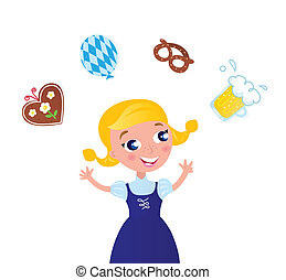 Cute Blond Hair Woman in Octoberfest costume. Vector cartoon Illustration.