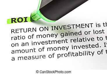 ROI highlighted in green - ROI (Return On Investment)...
