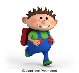 Junge, Schule, rennender