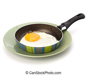 Fried egg on pan over white background