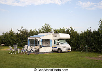 Motor home parked at a camping in the Netherlands