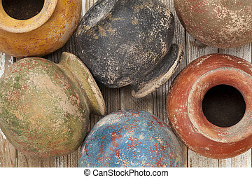grunge clay pots - clay pots (planters) with a color grunge...