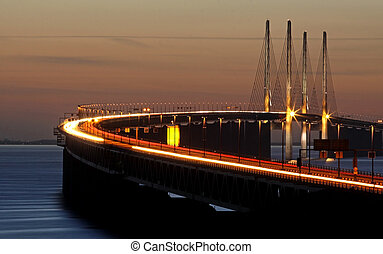Evening bridge - The bridge between Denmark and Sweden in...