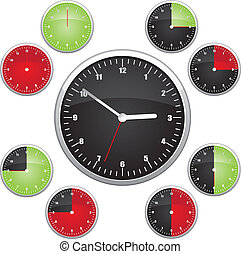 Clock illustration Easy editable 15 min interval timer icons...