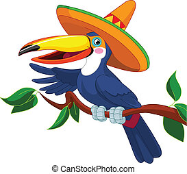 Toucan with sombrero - Illustration of toucan with sombrero...
