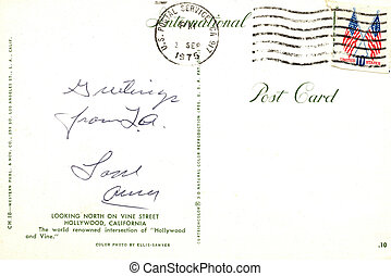 USA - CIRCA 1975. Reverse side of an old postal card with   postage stamp and handrwriting. Circa 1975