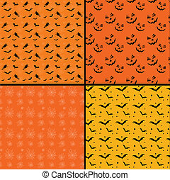Seamless tile Halloween backgrounds - Collection of four...