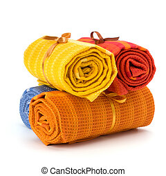 Towel isolated on white background - Towel roll isolated on...