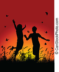 Children running outside - Silhouettes of children running...