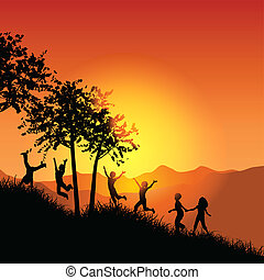 Children running up a grassy hill - Silhouettes of children...