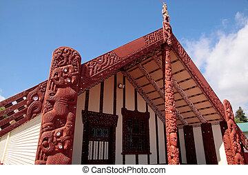 Maori house in Rotorua, North Island, New Zealand
