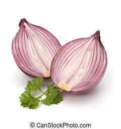 Red sliced onion and fresh parsley still life - Red sliced...