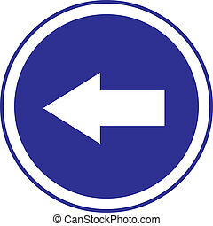 left arrow in circle blue sign