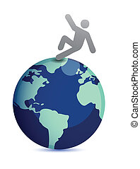 man falling from top of the earth