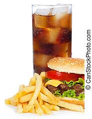 hamburguesa, fríe, cola