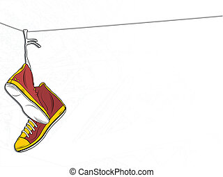Sneakers Hanging on wire on White Background - Vector -...