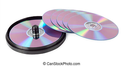 CDs spread out like a fan isolated on white background