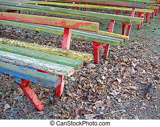 vintage wooden bench heap, retro concept