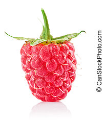 raspberry berry with green leaf